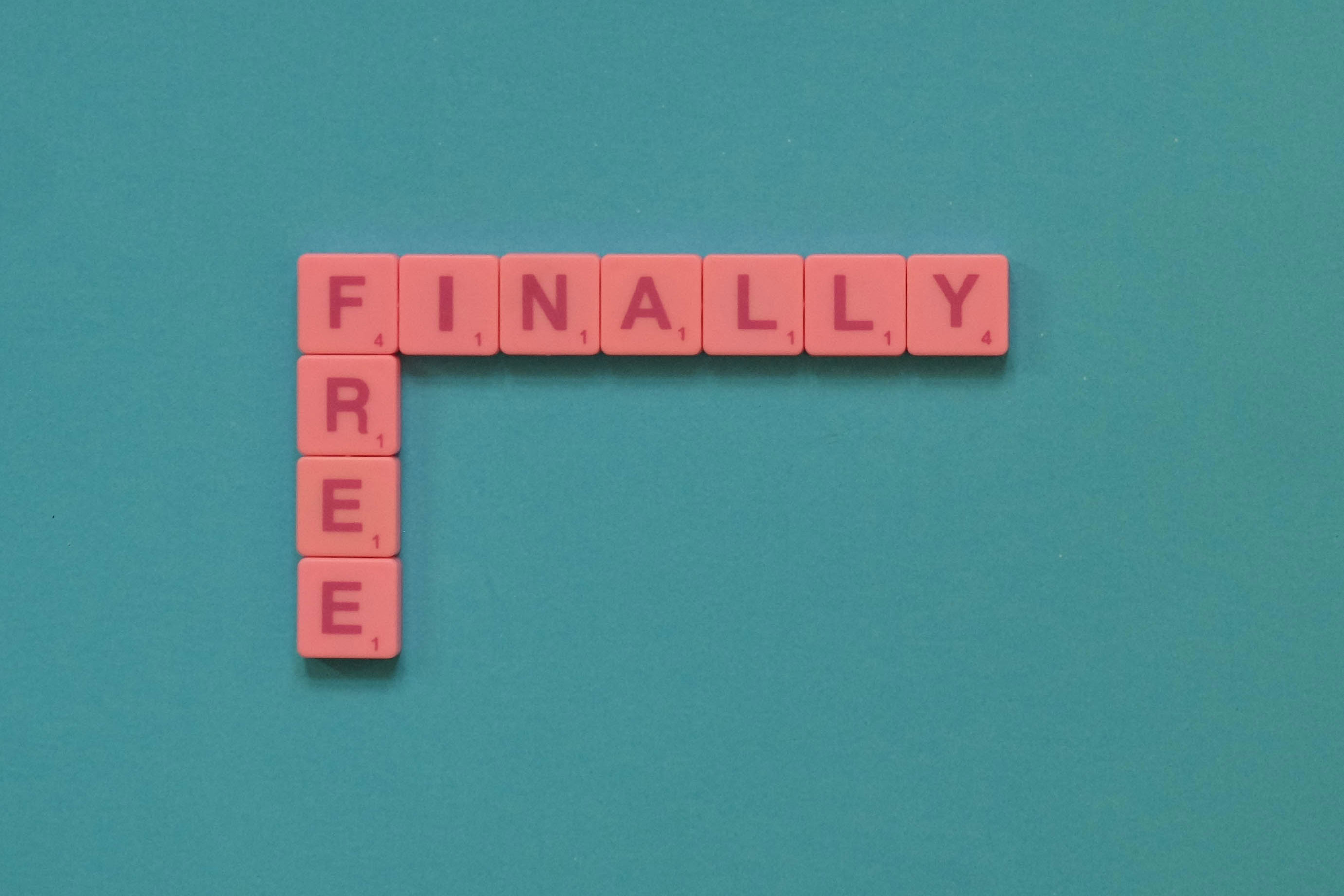 "word puzzle forming words ""Finally Free"""