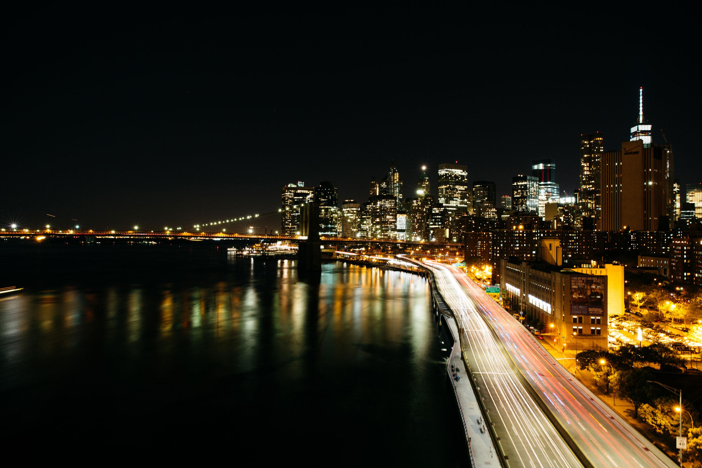 NYC skyline night time view